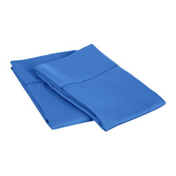 """Cotton Rich 600 Thread Count Hem Stitch Pillowcase Sets - Standard - Blue - Surround yourself in the classic elegance of Impressions Hem Stitch pillowcase set. This design features hem stitching which is a classic method used to put two pieces of fabric together using a an insertion stitch to give off the appearance of lace. Set includes two pillowcases 20""""x40""""."""