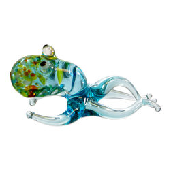 Hand Blown Glass Lampwork Collectible Miniature Octopus Figurine, Made in USA - This collectible duck glass figurine is created by famous WGK Glass Art studio in USA. Each item is made of lamp work glass and handcrafted individually. This collectible figurine will be a great gift or can be used as a beautiful piece of home decor. Only one piece is available.