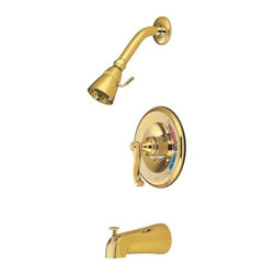 "Kingston Brass - Kingston Brass Polished Brass Royale Single Handle Tub & Shower Faucet KB8632FL - Solid brass water way construction, Premium color finish resists tarnishing and corrosion, 2.5 GPM / 9.5 LPM at 60 PSI, 5-1/2"" reach Shower Arm, 1/4 turn washerless cartridge, 1/2"" IPS Inlets, Pressure Balance Valve, Temperature Check Stop, Ten year limited warranty.. Manufacturer: Kingston Brass. Model: KB8632FL. UPC: 663370001406. Product Name: Single Handle Tub & Shower Faucet. Collection / Series: Royale. Finish: Polished Brass. Theme: Contemporary / Modern. Material: Brass. Type: Faucet. Features: Beautiful premier finish"