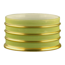 Maison Alma - Arienne Bottle Stand, Celery & 24K Gold - Elevate every meal at your table with a chic bottle stand. Beautiful accent work in 24-karat gold takes this everyday item to the next level. Whether you're serving water, juice or wine you'll be drinking in high style.