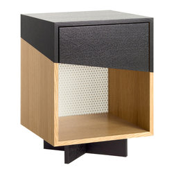 Platform Workshop - White Oak Angled Drawer Nightstand, Drawer Slanted Right - Turn your bedroom into a modern retreat with our white oak side tables .They have a custom black angle painted stripe and soft close drawer. Tables sit on black painted x-bases. Feature: soft close drawers, hidden drawer pulls, white powder-coated perforated backings, clear lacquer.