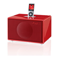 GenevaSound - Small All-In-One Hi-Fi For iPod/iPhone, Radio and More - Red - Hold the power of big music in the palms of your hands. This compact system looks great in your choice of black, white or red. Each features impressive sound, a digital clock with alarm and the tunes of your choice, thanks to a digital radio, iPod/iPhone dock and a mini line-in jack.