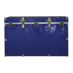 """Used Vintage Royal Blue Travel and Steamer Trunk - Royal blue with brass accents and black handles, this piece looks like it has a story to tell. Boy, if trunks could talk.    Note from the seller: """"When I saw this royal blue vintage trunk I knew I had to have it. I would use this as a coffee table or side table. What a statement piece in a room!"""""""