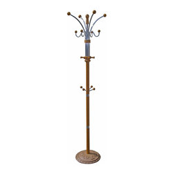 "ORE International - 73"" Coat Rack - Oak - Place this coat rack at a doors entryway to avoid the mass clutter of coats and hats hanging around the house. This rack features 12 hooks so there is plenty of room for all of your outerwear. The chrome and wood construction will make this piece durable and practical for years to come."