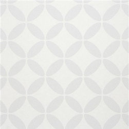 Walls Republic - Evolve Light Grey Wallpaper R2536 - Evolve is a circular geometric pattern with a stong sense of symmetry and balance. It is a bold, yet calming choice for a bedroom or living room.