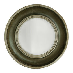 Kathy Kuo Home - Jorgen Industrial Style Wrapped Metal Wood Round Mirror - Reminiscent of a ship's porthole,  this industrial style metal mirror adds a bright accent wherever it's needed. Wrapped in a wood and metal surround, this circular mirror is perfectly proportioned for bathrooms, bedrooms and entryways.  The brushed silver finish complements both modern and antique styles.