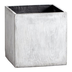 Cyan Design - Cyan Design Box Woody Planter X-58450 - The modern cubic shape of this Cyan Design box planter pairs beautifully with the textural detailing. Each of the four sides are adorned with a classic wood grain pattern, which adds to the modern appeal. This woody planter is complete with a trendy Light Gray finish.