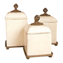 "Barcelona Kitchen Canisters S/3 - Barcelona Kitchen Canisters Dimensions: (Sm) 8""w x 8""d x 12""h (Md) 8""w x 8""d x 13""h (Lg) 8""w x 8""d x 14""h Provencial Canister - Cream Ceramic withBrown Metal Base, Care: Ceramic is dishwasher safe, but recommend to handwash oversized pieces and metal, in mild soap and dry with a soft cloth"