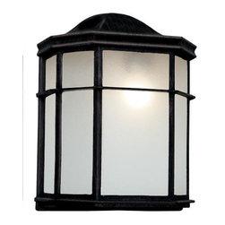 Joshua Marshal - One Light Swedish Iron Frosted Acrylic Glass Wall Lantern - One Light Swedish Iron Frosted Acrylic Glass Wall Lantern