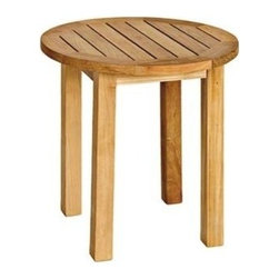 "Canterbury Teak Tall 20"" Side Table - The simple round tall Canterbury side table is the perfect complimentary piece to your other outdoor furniture. Place between chairs or benches as a stylish and functional accent piece. Weather, rain, and chlorine resistant, this solid teak side table cleans easily and will blend with any style."