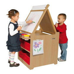 Guidecraft - Guidecraft Desk to Easel Art Cart - G51089 - Shop for Art Easels from Hayneedle.com! About GuidecraftGuidecraft was founded in 1964 in a small woodshop producing 10 items. Today Guidecraft's line includes over 160 educational toys and furnishings. The company's size has changed but their mission remains the same; stay true to the tradition of smart beautifully crafted wood products which allow children's minds and imaginations room to truly wonder and grow.Guidecraft plans to continue far into the future with what they do best while always giving their loyal customers what they have come to expect: expert quality excellent service and an ever-growing collection of creativity-inspiring products for children.