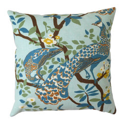 Blue Peacock Decorative Pillow Cover - One decorative pillow cover made to fit a size 18x18 pillow insert. Featuring a centered peacock in vintage plumes pattern. Colors include jade, blue, yellow, brown and white. Cover will be finished with a solid off white linen backing and a bottom concealed zipper closure. Pillow insert is not included.