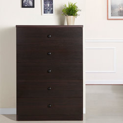Furniture of America - Furniture of America Modern 5-drawer Wood Chest - Featuring clean lines and a modern design that is at home anywhere,this five-drawer dresser has roomy drawers and simple pulls.  Available in a trio of popular warm wood finishes,it offers a contemporary look for outstanding versatility.