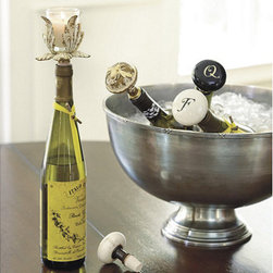 Ballard Designs - Bottle Stopper - Monogrammed - Natural cork stopper. Made in the USA. Specify letter for Monogram. A great excuse to open that bottle of wine, even if it's just for one glass. A vintage porcelain doorknob shows off a single-letter monogram. It also makes a thoughtful hostess gift for a wine lover. Choose Antique White with Black letter or Black with White letter.Monogram Bottle Stopper features: . . .