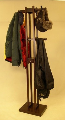 Proman - Kobe Coat Rack - Features: -Coat tree.-Four adjustable bars serve as coat hooks.-Small key box in the middle allows users to store small items such as keys, coins and garage openers.-Top two bars have longer total length than the bottom two.-Dark walnut finish.-Distressed: No.Dimensions: -67'' H x 15.5'' W x 11'' D, 14 lbs.-Overall Product Weight: 14 lbs.
