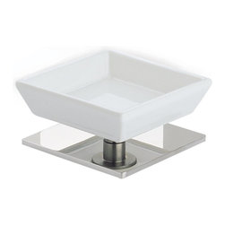 StilHaus - Square White Ceramic Soap Holder with Brass Base, Chrome - Ceramic soap holder with brass base.