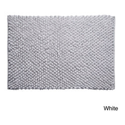 None - Hand-woven Chenille Rocks Cotton 24 x 36 Bath Rug - Dress your bathroom floor with the hand-woven chenille rocks bath rug available in a black or white finish. Made of 100-percent cotton, this absorbent rug is machine washable for easy care and repeated use.