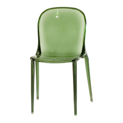 Kartell - Thalya Chair, Set of 2, Transparent Forest Green - This chair speaks volumes without saying a word. It has a surprisingly simple silhouette with a bold impact that catches your eye. The surface is incised with a pattern of irregular vertical and horizontal stripes that's created from injecting gas into the polycarbonate mold. But all you'll really care about is how fabulous it looks anywhere you place it, indoors or out.