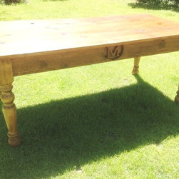 Monogrammed Family Farm Table - Made with Reclaimed Barn Wood - Arcadian Cottage
