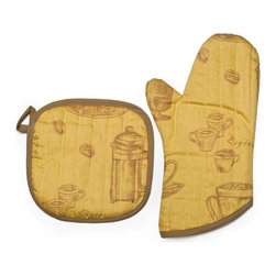 Bambeco Cafe Organic Potholder & Mitt Saffron - Madefrom 100% Organic Cotton and Low-Impact Dyes, this Potholder and Mitt set featuresinspirations from European cafe elements.Also Available: Apron Available in Mango, Saffron (shown here), Sky, Ivory and Chocolate. Care: Machine washable & dryable.