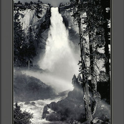 "Amanti Art - ""Nevada Fall, Rainbow, Yosemite National Park, California, 1946"" by Ansel Adams - Bring the majesty of this waterfall in Yosemite National Park into your home with this breathtaking Ansel Adams print. It's almost better than looking out the window. The poster is framed in black and matted in two-toned cinder gray and black and comes with hanging wire, ready to hang."