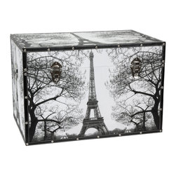 Oriental Furniture - Paris Storage Trunk - Bonjour! This stately trunk features a fabulous photo-rendering of the Eiffel Tower in Paris printed on high-quality natural canvas. Framed by sweeping branches, the Eiffel Tower looks fantastic on the front, back, top, and sides of this trunk. Designed for your convenience, this trunk features an inconspicuous interior arm that holds the lid when you need it open, and a pair of external closures that keep it shut tight when you don't. The sturdy, yet highly portable kiln-fired wood frame surrounds a spacious fabric-lined interior that is perfect for storing and protecting your keepsakes. The durable, tear resistant canvas is protected with riveted faux leather edges to provide you with a stylish chest that is built to last. Printed from a stately black and white photograph, this trunk goes with everything and is sure to add a touch of Parisian sophistication to any room.