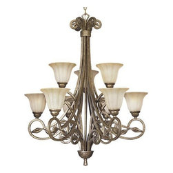 """Progress Lighting - Progress Lighting P4203-91C Chandelier - Biscay Crackle - Progress Lighting P4203 9 Light Jardin Chandelier As you undoubtedly know, Le Jardin means The Garden. And that's the effect that this nine-light chand. This item by Progress Lighting is offered in biscay crackle. Requires nine 100-watt frosted incandescent bulbs. Ceiling Mount on chain. Weathered Sandstone glass diffuser. Includes 10 feet of chain. Covers outlet box. Mounting strap for outlet box included. UL Listed. Width: 32"""". Height: 36"""". Total Wattage: 900."""