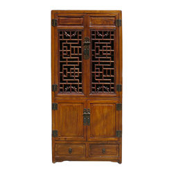 Golden Lotus - Chinese Brown Open Panel Storage Tall Cabinet Bookcase - This is a storage cabinet in simple straight design and medium brown stain color. The top door is in open panel design for open display storage. It is a decorative accent piece for simple Zen element room and has lots of storage room for different items.