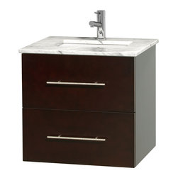 """Wyndham Collection - Centra 24"""" Espresso Single Vanity, Countertop, Undermount Square Sink, No Mirror - Simplicity and elegance combine in the perfect lines of the Centra vanity by the Wyndham Collection. If cutting-edge contemporary design is your style then the Centra vanity is for you - modern, chic and built to last a lifetime. Available with green glass, pure white man-made stone, ivory marble or white carrera marble counters, with stunning vessel or undermount sink(s) and matching mirror(s). Featuring soft close door hinges, drawer glides, and meticulously finished with brushed chrome hardware. The attention to detail on this beautiful vanity is second to none."""