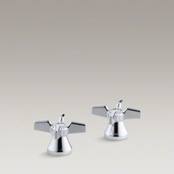 KOHLER - KOHLER Triton(R) cross handles for centerset base faucet - With practical designs and solid construction, Triton faucets and accessories are an exceptional value. These competitively priced Triton cross handles complement centerset faucets, and feature solid brass construction and a Polished Chrome finish. Vandal