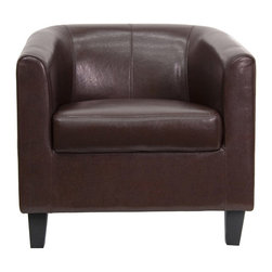 Flash Furniture - Flash Furniture Office Guest Chair in Brown - Flash Furniture - Guest Chairs - BT873BNGG - This attractive brown leather reception chair will complete your upscale reception area. Reception Chairs are perfect for office and waiting room seating. The contemporary design of this chair will fit in a multitude of environments with its streamlined stitching and elevated hardwood feet. [BT-873-BN-GG]