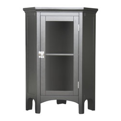 Elegant Home Fashions - Madison Avenue Corner Floor Cabinet - The Madison Avenue Corner Floor Cabinet from Elegant Home Fashions has an elegant crown molded top with one door that offers storage with style for your bathroom.  It is also very functional with one interior fixed shelf.  Arched decorative skirt on bottom front and sides offers architectural elegance.  The cabinet features a chrome finished knob for easy opening.  This cabinet comes with assembly hardware.