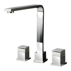 MR Direct - MR Direct 744-C Chrome Double Handle Kitchen Faucet - The 744-C Double Handle Faucet has an ultramodern appeal for those who prefer a hard-edge, angular design. Its long neck is bent at a 90-degree angle and ranges nearly ten inches over the sink. It also swivels 360 degrees to reach any point on its large circumference. Squared handles twist to turn on or off. The 744-C is available in a choice of three finishes: chrome, brushed nickel or oil-rubbed bronze. Like our other faucets, it is cut from solid brass, fully-tested and shipped with our limited lifetime warranty. An optional matching spray hose is also available.