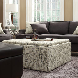Inspire Q - INSPIRE Q Montrose US Geographic Storage Cocktail Ottoman - This Avenue Collection ottoman feature lids that come off to reveal spacious storage compartments and,for cocktail hour,the lids invert to form a four-section coffee table. This stylish cocktail ottoman is the perfect accent piece to brighten any room.