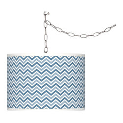 Giclee Glow - Secure Blue Narrow Zig Zag Giclee Glow Plug-In Swag - Featuring an undulating pattern, the Secure Blue Narrow Zig Zag giclee shade lends contemporary verve to this swag style pendant chandelier. Add instant style and glamour to your home with this swag chandelier featuring a custom made-to-order translucent drum shade with a specially designed, custom-printed giclee pattern. Comes with a brushed silver finish spider fitting, chain, and silver cord. Includes swag hooks and mounting hardware. Installation is easy, simply hang on the included swag hooks, drape the cord as desired, and plug in to any standard wall outlet. U.S. Patent # 7,347,593.
