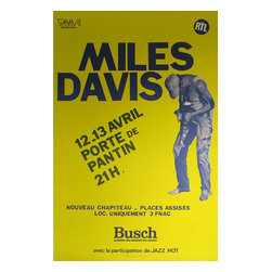 Vintage European Posters - Consigned  Miles Davis Poster - This bold poster was printed in 1983 for a Miles Davis show in France. It's a classic example of modern music posters as it advertises in the simplest way possible—by letting the name speak for itself. Miles Davis, a Jazz legend, needed little introduction or help getting people to attend his shows, therefore an eye-catching color along with dates and an address was all the campaign needed. It's a contemporary, clean, and nostalgic poster and a must-have for any modern jazz lover.