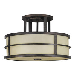 Murray Feiss - Murray Feiss Fusion Semi-Flush Mount Ceiling Fixture in Grecian Bronze - Shown in picture: Fusion Semi-Flush in Grecian Bronze finish with Amber Ribbed Glass Shade