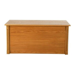 Wood Creations Toy and Blanket Chest with Cedar Base - The beauty of simple furniture is that it fits in anywhere and that's certainly true for the Wood Creations Toy and Blanket Chest with Cedar Base. It has the perfect finish to accentuate any bedroom or playroom. Handcrafted with a solid Red Oak frame and cedar base this chest is then stained in a warm amber that complements any setting. That finish is protected by a satin clear topcoat to ensure that you get years of use from it. This amply sized chest features a safety-hinged lid that securely stands open at any height. That feature's particularly important if you use this chest as a toy box - no little fingers get squished by a slamming lid. The Wood Creations Toy and Blanket Chest with Cedar Base comes ready to assemble.