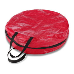 None - Christmas Wreath/ Garland Storage Bag - This convenient storage bag keeps your artificial wreath and garland protected and clean when not in use. An easy-to-see red color helps keep your decorations organized.