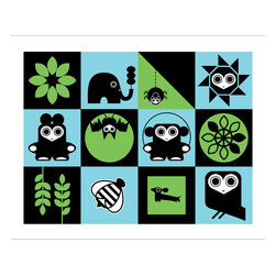 Hybrid-Home - Limited Edition Print - Super Terrific - Creature comforts are wedded with bright blues and greens in this whimsical print. Silkscreened and designed by Dora Drimalas, you'll fall for this sweet depiction of nature in all its geometric glory.