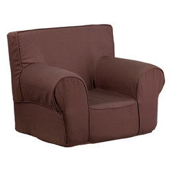 Flash Furniture - Flash Furniture Small Solid Brown Kids Chair - This comfy foam chair is a fun piece of furniture for children to enjoy for reading and relaxing. The lightweight design with carrying handle will allow this chair to be toted in several locations. The slipcover can be removed for cleaning or spot cleaned upon accidents.