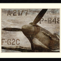 Amanti Art - Dylan Matthews 'Vintage Airplane' Framed Art Print 41 x 33-inch - A great match for the aviation buff, Vintage Airplane by Dylan Matthews captures the strong design of a classic aircraft nose and propeller in bold browns and sepia.