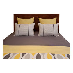 vintagemaya - CATALANA DUVET COVER AND SHAM 5 PIECE SET - KING - Inspired by the works of Antonio Gaudi, the handmade Catalana King features a grey and yellow duvet cover with button closures and yellow euro shams. Known for his exquisite works of architect, Gaudi integrated both straight and curved lines in his creative designs. Alternating a dark grey, light grey and yellow wave pattern, VM captures the essence of Gaudis Catalana King design in lines curving across the pintuck duvet cover. Handcrafted by practiced artisans, the Catalana King includes a yellow euro sham trimmed in grey cross stitching, offsetting the neutral grey colors printed across the duvet cover. With bold wavy lines and a 450 thread count, the Catalana King captures classic Catalan style.