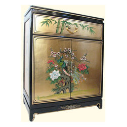 "n/a - Oriental Cabinet In Rich Gold Leaf And Hand Painted Peacock - Oriental Shoe Cabinet, 30"" high, hand applied gold leaf background with hand painted Asian peacock and flower deign. This storage cabinet with its great looks has has 1 felt lined drawer, 2 doors, 1 shelf and glass top. Sturdy brass door pulls and handles compliment the gold background. Two tone shiny black lacquer frame and rich Gold panel is hand painted on sides, top and front. The back of this cabinet in finished in black. Solid wood construction, no assembly required and built to last for generations.The Peacock is a symbol of integrity and this subject is a easy fit in almost any room. It measures: 24"" w x 14"" d x 30 "" h. Use in an entry, hallway, as a bar or media cabinet."