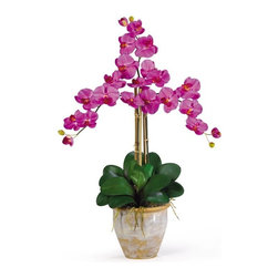 """Triple Stem Phalaenopsis Silk Orchid Arrangement - Looking for the perfect orchid with absolutely no maintenance? The 27' triple stem phalaenopsis is a classic orchid to be enjoyed by all, even the most discriminating customer. Each silk plant comes with three beautiful phalaenopsis stems each with 6 flowers and 2 buds. Finished with a gorgeous glazed ceramic vase designed to coordinate with any decor, this beauty will bring color and life into any space. Color: Orchid, Height: 27"""", Vase: H 7"""" W 8-1/2"""" Height= 27 in x Width= 23 in x Depth= 23 in"""