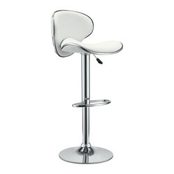 Modway - Modway EEI-635 Saddleback Bar Stool in White - Ride new vistas and conquer all obstacles with this adventure packed bar stool. Gird yourself as an underlying force of light-filled prowess bursts from this pedestal of strength. Celebrate special moments and enliven casual repartee with the vinyl wave seat and polished chrome base.