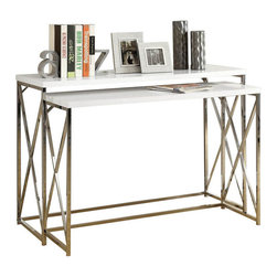 Monarch Specialties - Monarch Specialties 2-Piece 46 x 18 Console Nesting Table Set in Chrome, White - With its chic glossy white tops, this 2 piece console table set gives an exceptional look to any room. Its original criss-cross chromed metal base provides sturdy support as well as a contemporary look. Use this multi-functional set as lamp tables, picture displays, or simply accent pieces, in your living room, hallway or even bedroom! What's included: Nesting Tables (2).