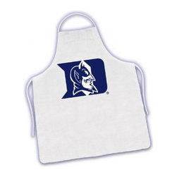 Sports Coverage - Duke Blue Devils Tailgate Apron - Collegiate Duke University Bluedevils White screen printed logo apron. Apron is 100% cotton twill with screenprinted logo. One Size fits all.
