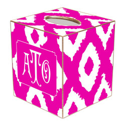 Marye Kelley - Ikat Grande Fuchsia Personalized Tissue Box Cover - The Ikat Grande tissue box cover's custom design lends modern charisma. Featuring silver trim, this personalized monogram accessory excites with a fuchsia and white ikat print. Available in papier mache, tin and wood; Choose font style; Enter initial, name or monogram exactly as it should appear; Made in the USA