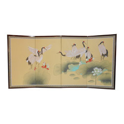 """Oriental Hand-Painted Watercolor Silk Screen, Cranes - Chinese hand painted silk screens are hand painted on stretched silk, with embroidered silk borders. These wooden framed silks are light and easy to hang or use on the floor. This traditional watercolor painting is Cranes and water lily a traditional Chinese symbol of eternal devotion and love.. Warm pastel colors are are used to create a wonderful floral painting. Four folding panels. Brass hangars Included. 70 inches by 35 inches high.  Folds to 17.5 x 36""""H. Use over a buffet , large enough over a couch. Simple Asian style and not overpriced!"""